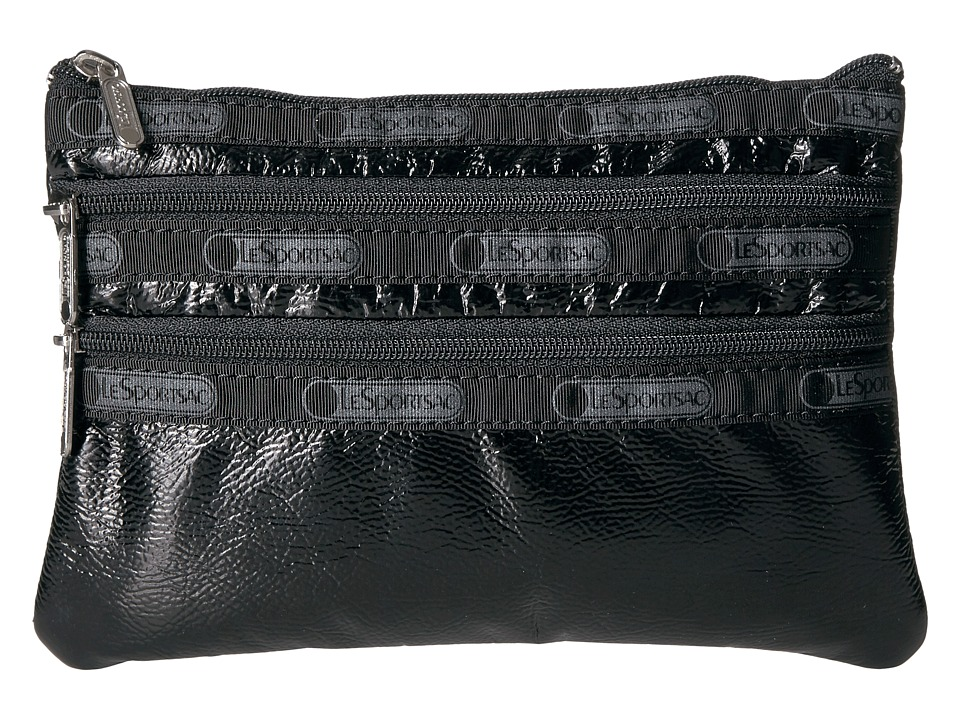 LeSportsac - 3 Zip Cosmetic (Black Crinkle Patent) Cosmetic Case