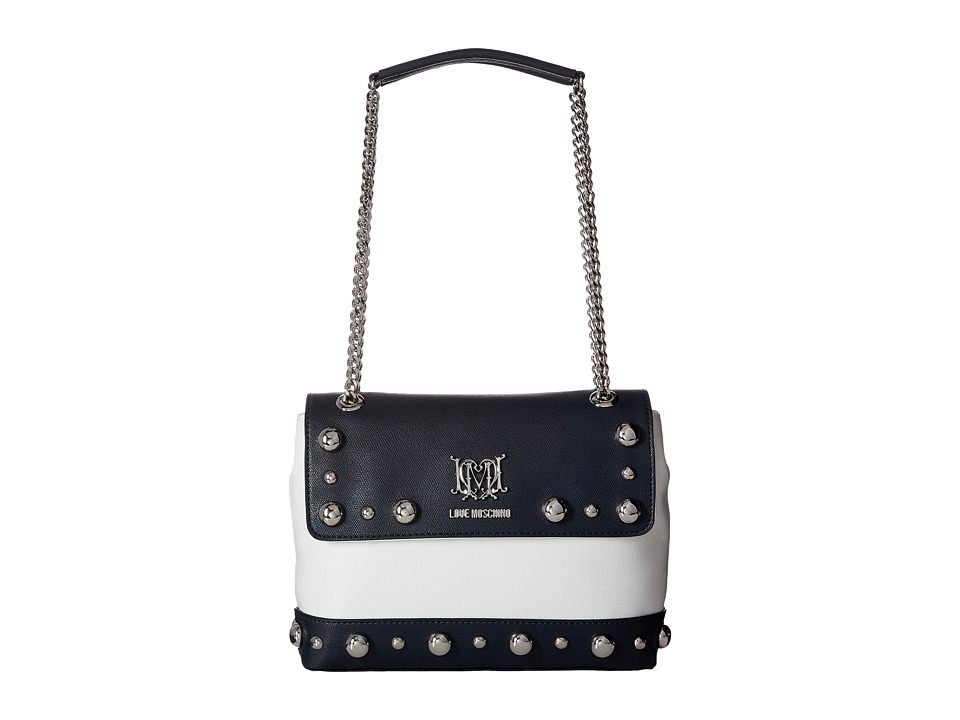 LOVE Moschino - Studs Flap Bag (White/Black) Bags