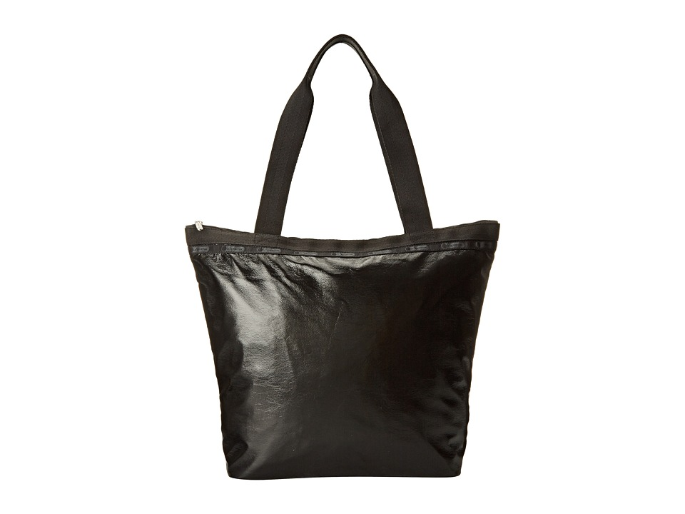 LeSportsac - Hailey Tote (Black Crinkle Patent) Tote Handbags