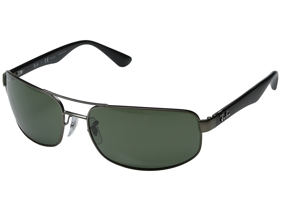 Ray-Ban - RB3445 64mm (Gunmetal Matte/Green Polarized) Fashion Sunglasses