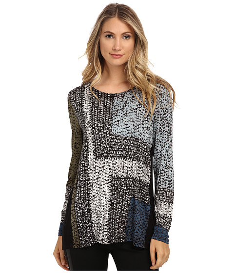 NIC+ZOE - Blue Print Top (Multi) Women's Clothing