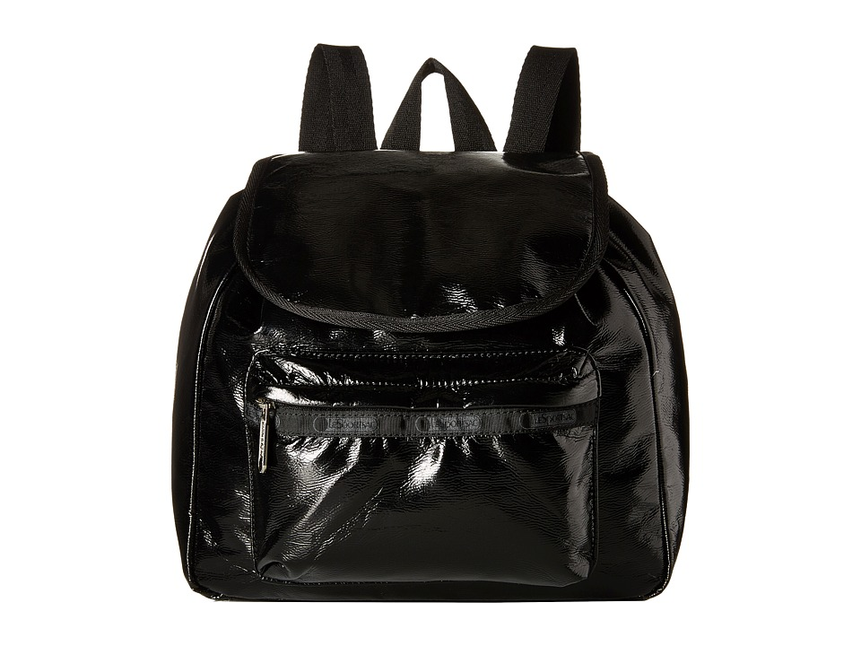 LeSportsac - Small Edie Backpack (Black Crinkle Patent) Backpack Bags