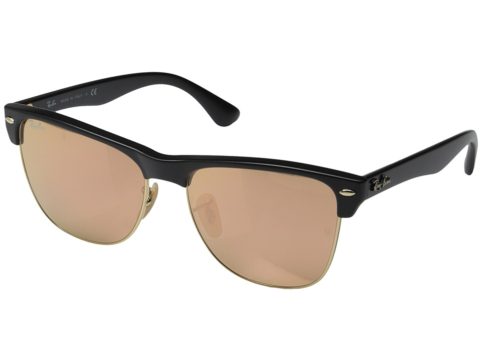 Ray-Ban - Clubmaster Oversized 57mm (Black Brown Mirror Pink) Fashion Sunglasses