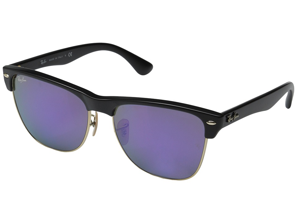 Ray-Ban - Clubmaster Oversized 57mm (Black Grey Mirror Purple) Fashion Sunglasses