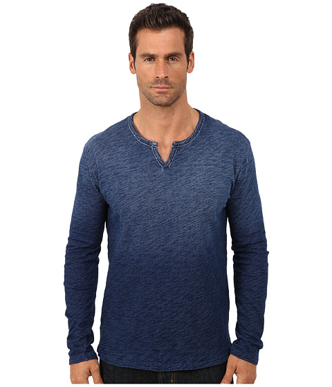 Lucky Brand - Indigo Long Sleeve Notch Neck Tee (Indigo) Men
