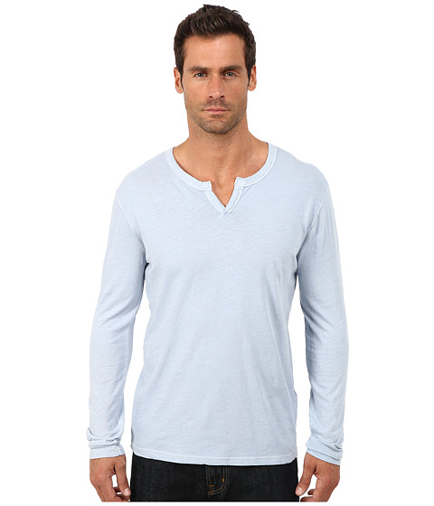 Lucky Brand - Long Sleeve Notch Neck Tee (Dusty Blue) Men