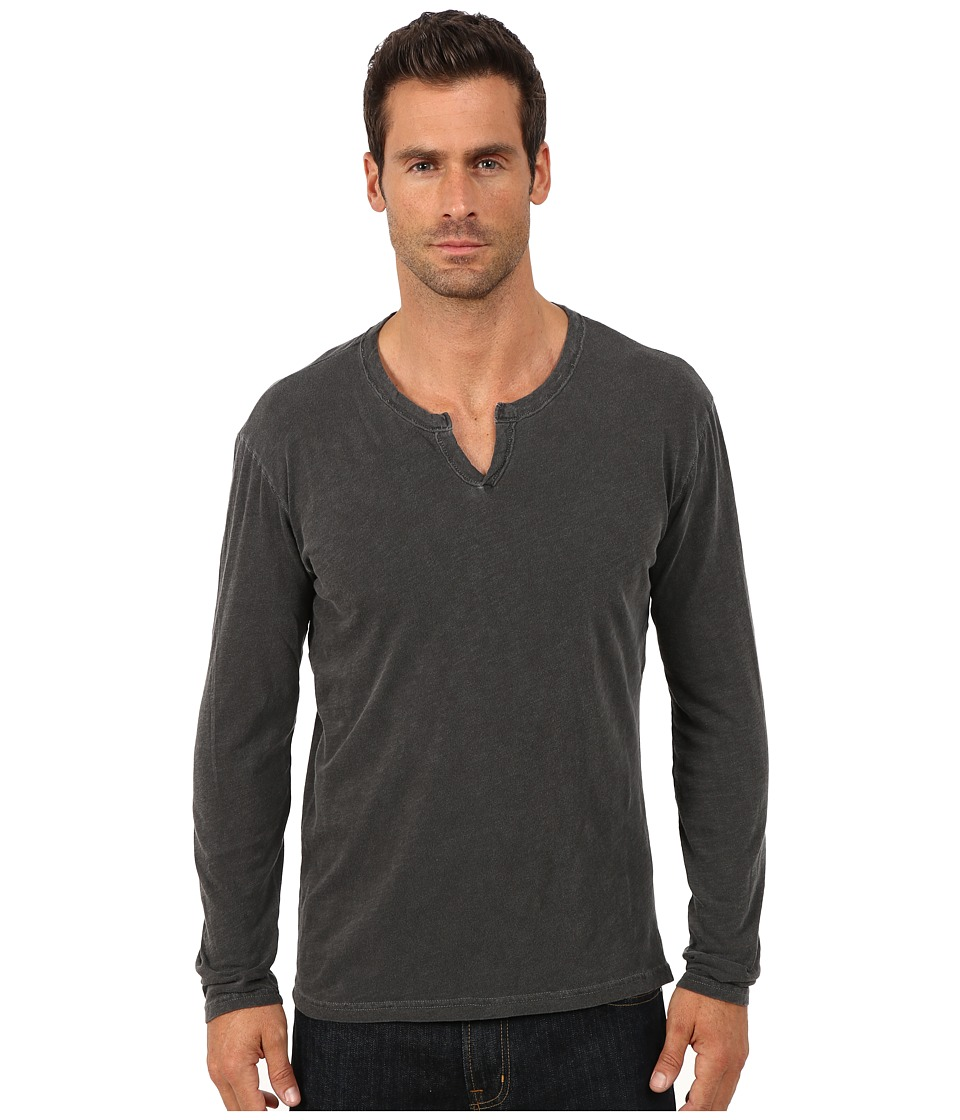 Lucky Brand - Long Sleeve Notch Neck Tee (Black Mountain) Men's T Shirt