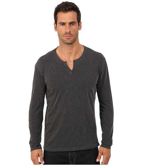 Lucky Brand - Long Sleeve Notch Neck Tee (Black Mountain) Men