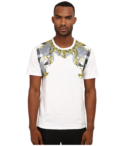 Versace Collection - Placed Print T-Shirt with Gold Baroque Detail (White) Men
