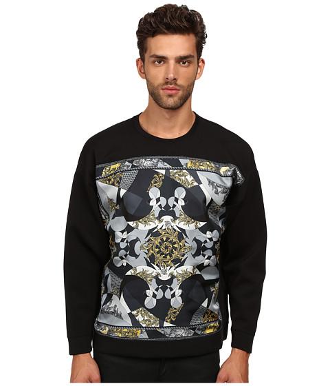 Versace Collection - Scuba Sweatshirt w/ Silk Front Pattern (Black) Men's Sweatshirt