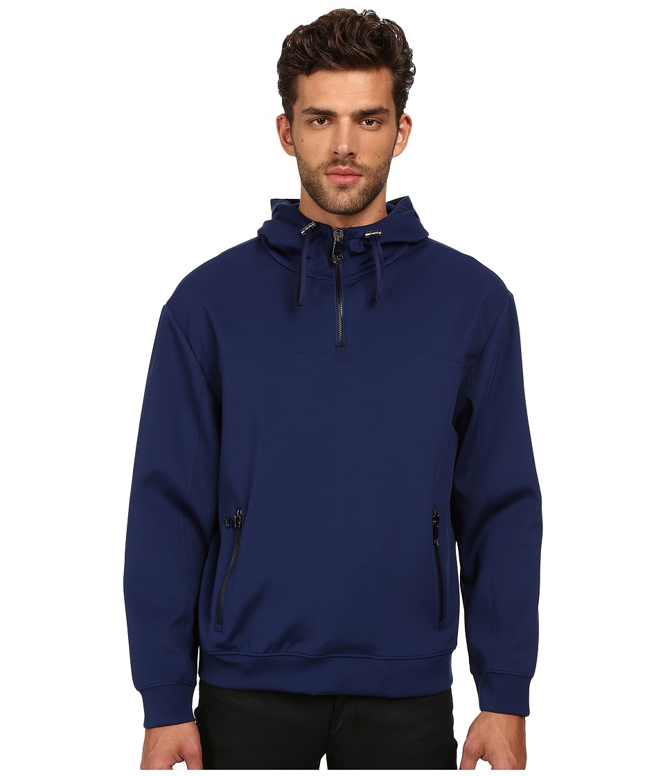 Versace Collection - Neoprene Hooded Pullover (Navy) Men's Sweatshirt