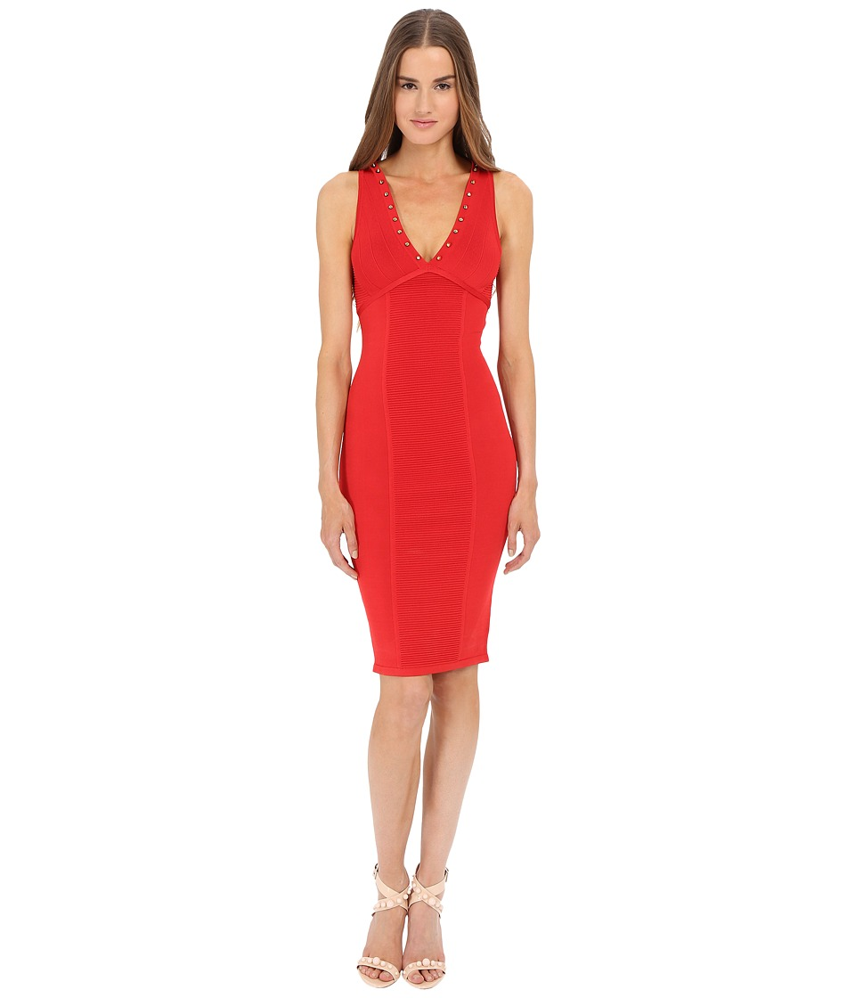 Versace Collection V-Neck Knit Dress (Red) Women