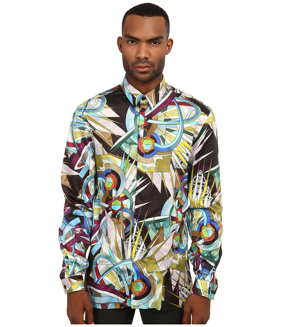 Versace Collection - Stretch Cotton All Over Geometric Print Woven (Multi) Men's Clothing