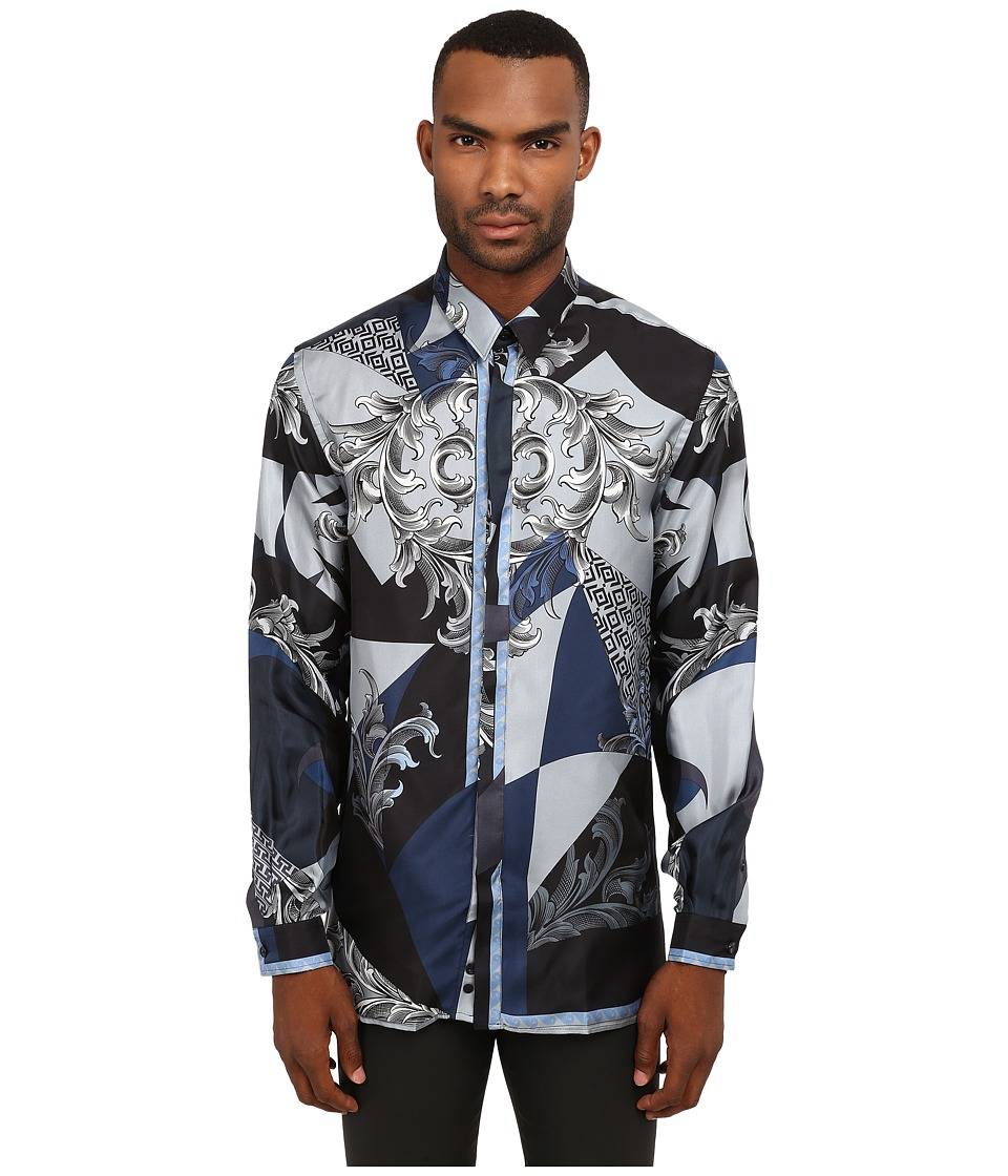 Versace Collection - Silk Baroque Button Up (Blue) Men's Clothing