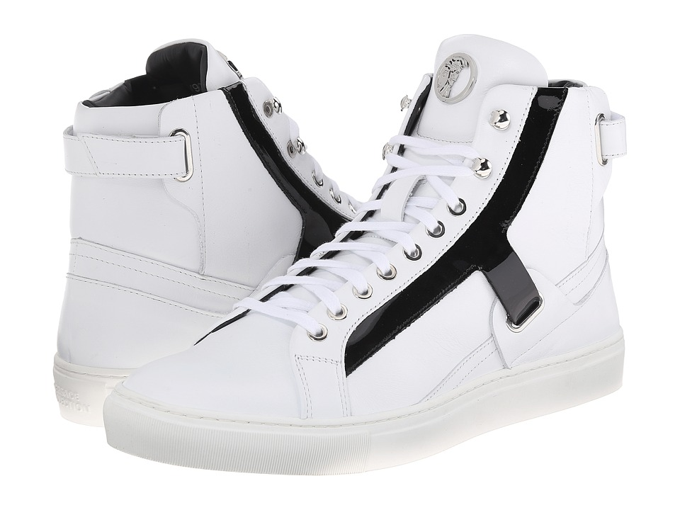 Versace Collection - High Top w/ Black Patent Strap (White) Men's Shoes