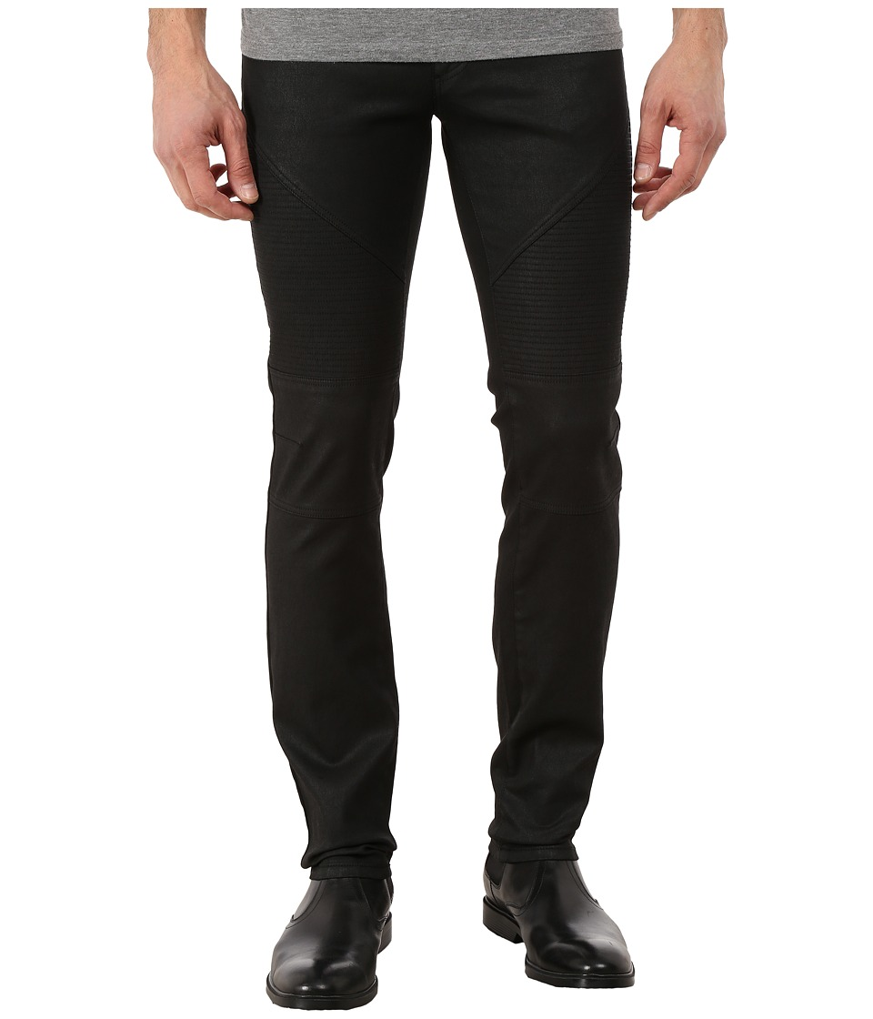 Versace Collection - Wax Coated Slim Fit Moto Denim (Black) Men's Jeans