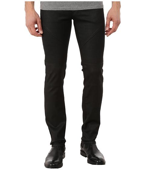 Versace Collection - Wax Coated Slim Fit Moto Denim (Black) Men's Jeans