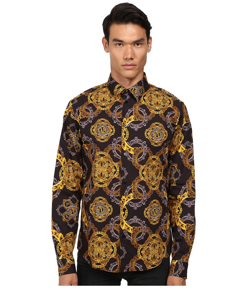 Versace Jeans - Baroque Print Reg Fit Woven (Black) Men's Long Sleeve Button Up