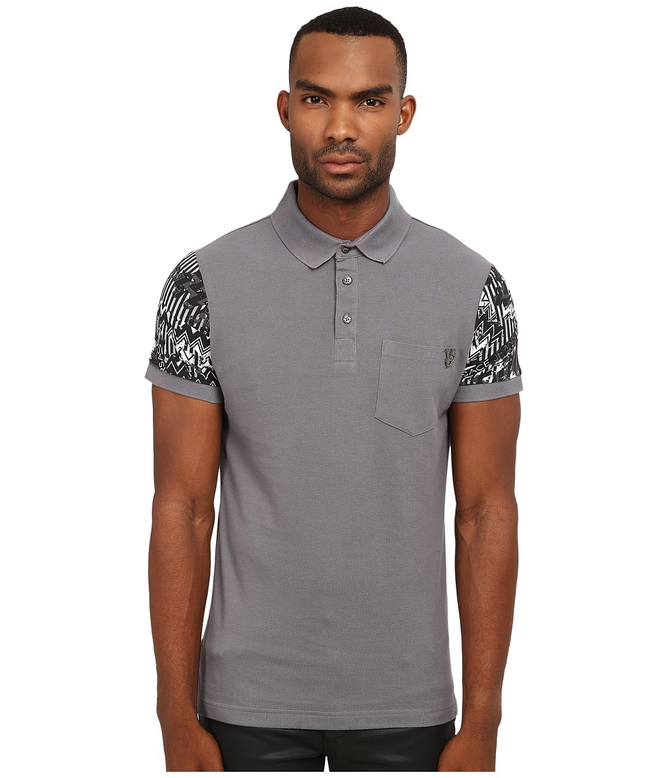 Versace Jeans - Polo with Contrast Printed Sleeves (Grey) Men's Clothing
