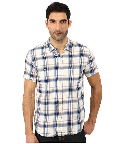 Lucky Brand - Indio Workwear Shirt (White/Blue Combo) Men's Short Sleeve Button Up
