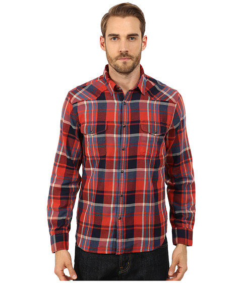 Lucky Brand - Wolf Creek Western (Red Plaid) Men's Long Sleeve Button Up