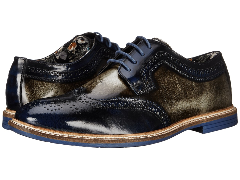 Lotus - Findlay (Navy/Grey Rub Off Leather) Men's Shoes