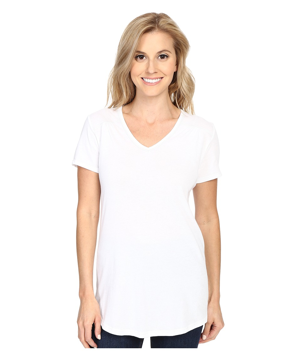 Columbia - Everything She Needs V-Neck Tee (White Heather) Women's Short Sleeve Pullover