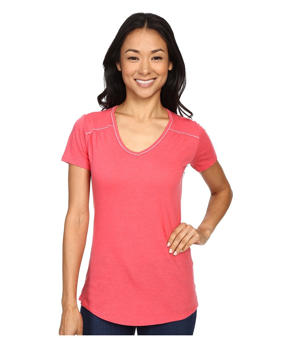 Columbia - Everything She Needs V-Neck Tee (Bright Geranium Heather) Women's Short Sleeve Pullover