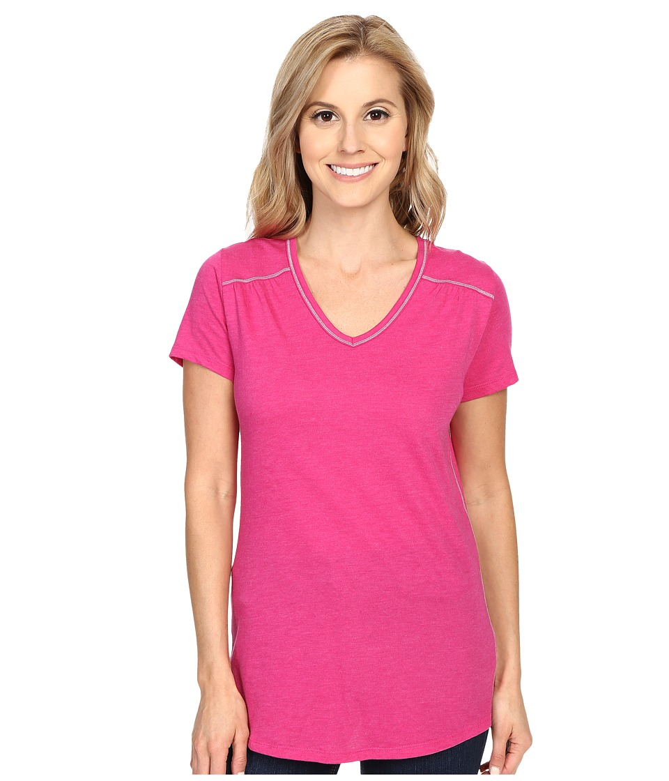 Columbia - Everything She Needs V-Neck Tee (Haute Pink Heather) Women's Short Sleeve Pullover