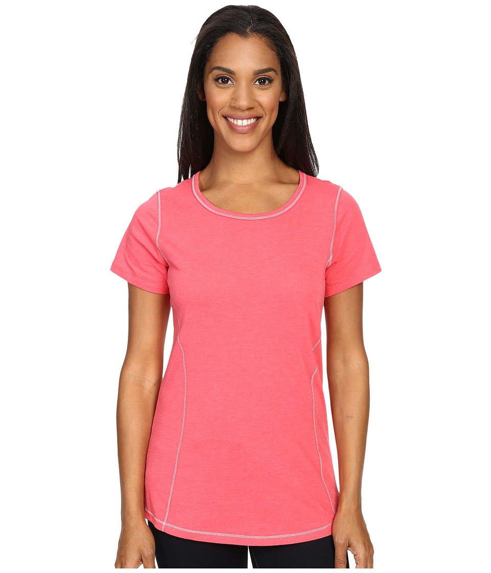 Columbia - Everything She Needs Crew Neck Tee (Bright Geranium Heather) Women's Short Sleeve Pullover