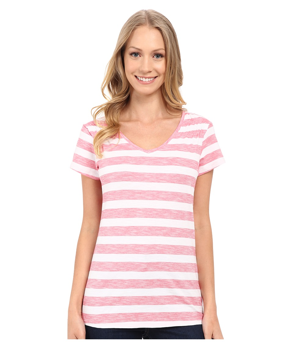 Columbia - Rocky Ridge IV Print Tee (Bright Geranium Stripe) Women