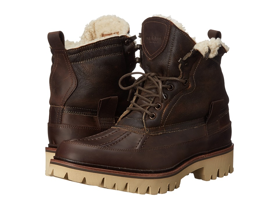 rag & bone - Spencer Duck Boot (Brown Shearling) Men's Lace-up Boots