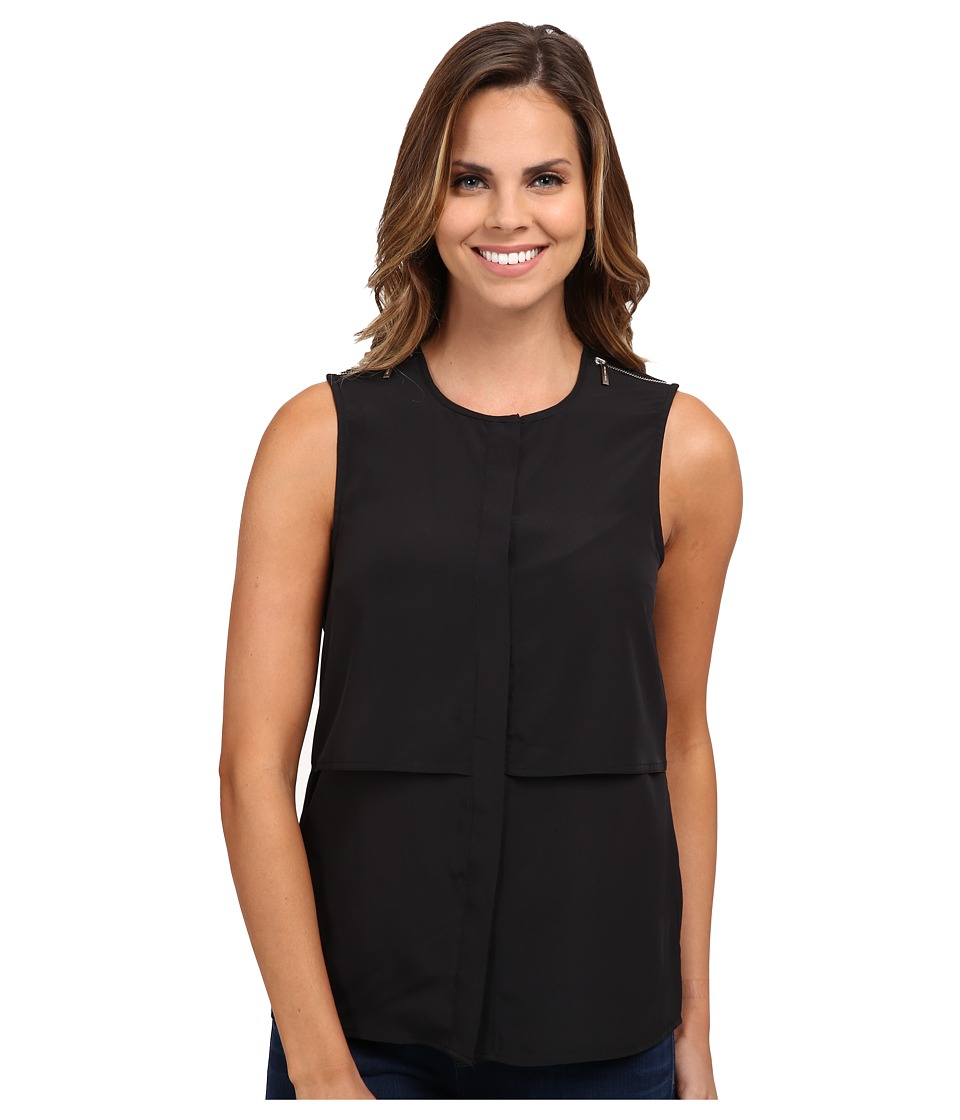 MICHAEL Michael Kors - Sleeveless Button Down Top (Black) Women's Sleeveless