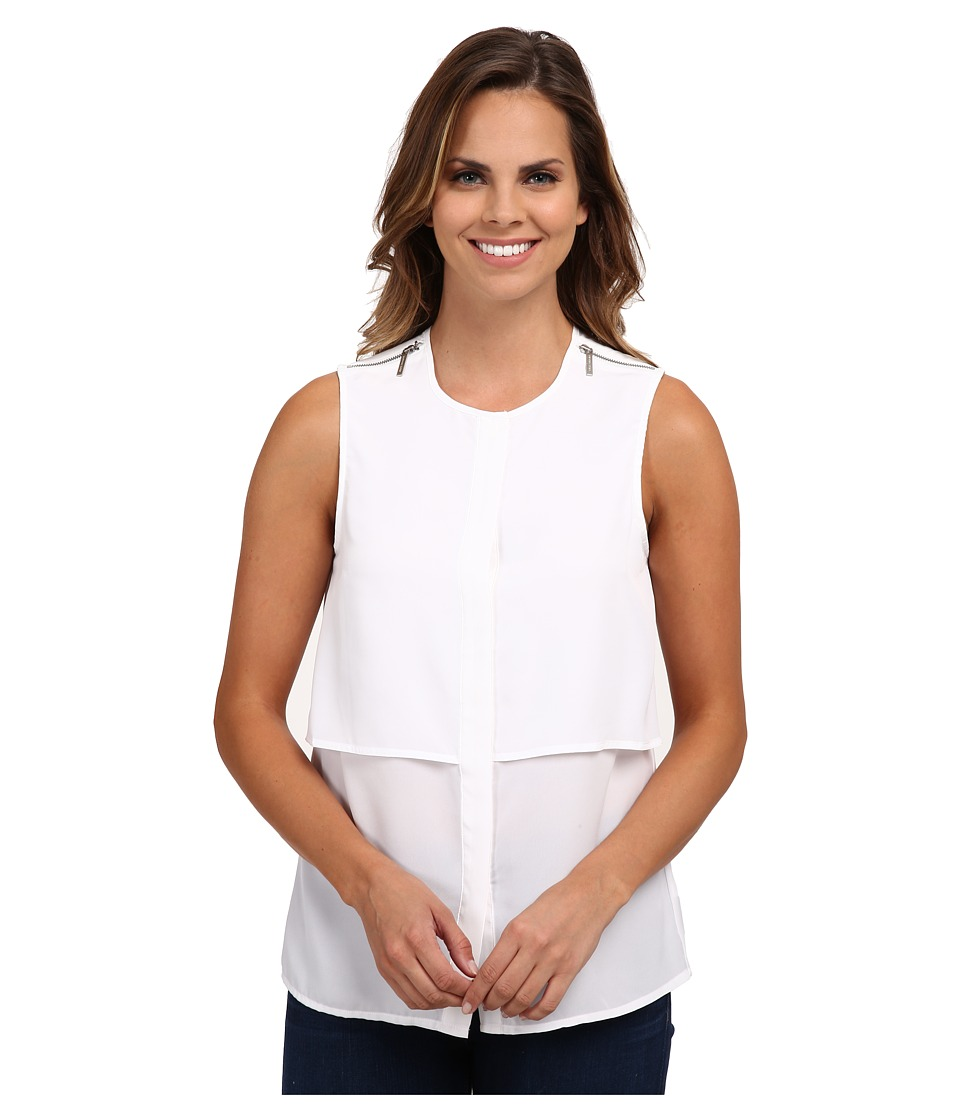 MICHAEL Michael Kors - Sleeveless Button Down Top (White) Women's Sleeveless