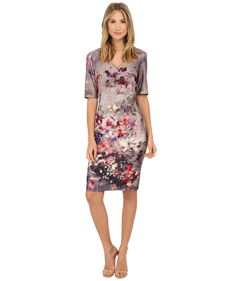 Christin Michaels - Heather Scuba Dress (Beige/Pink) Women