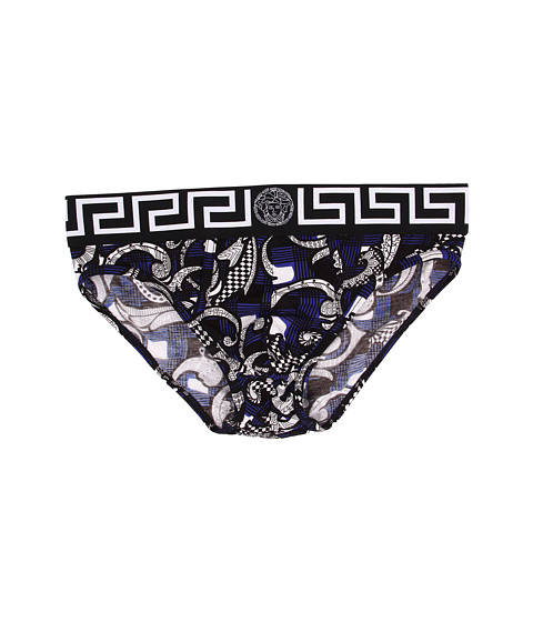 Versace - Iconic Print Brief (Bue/Black) Men's Underwear
