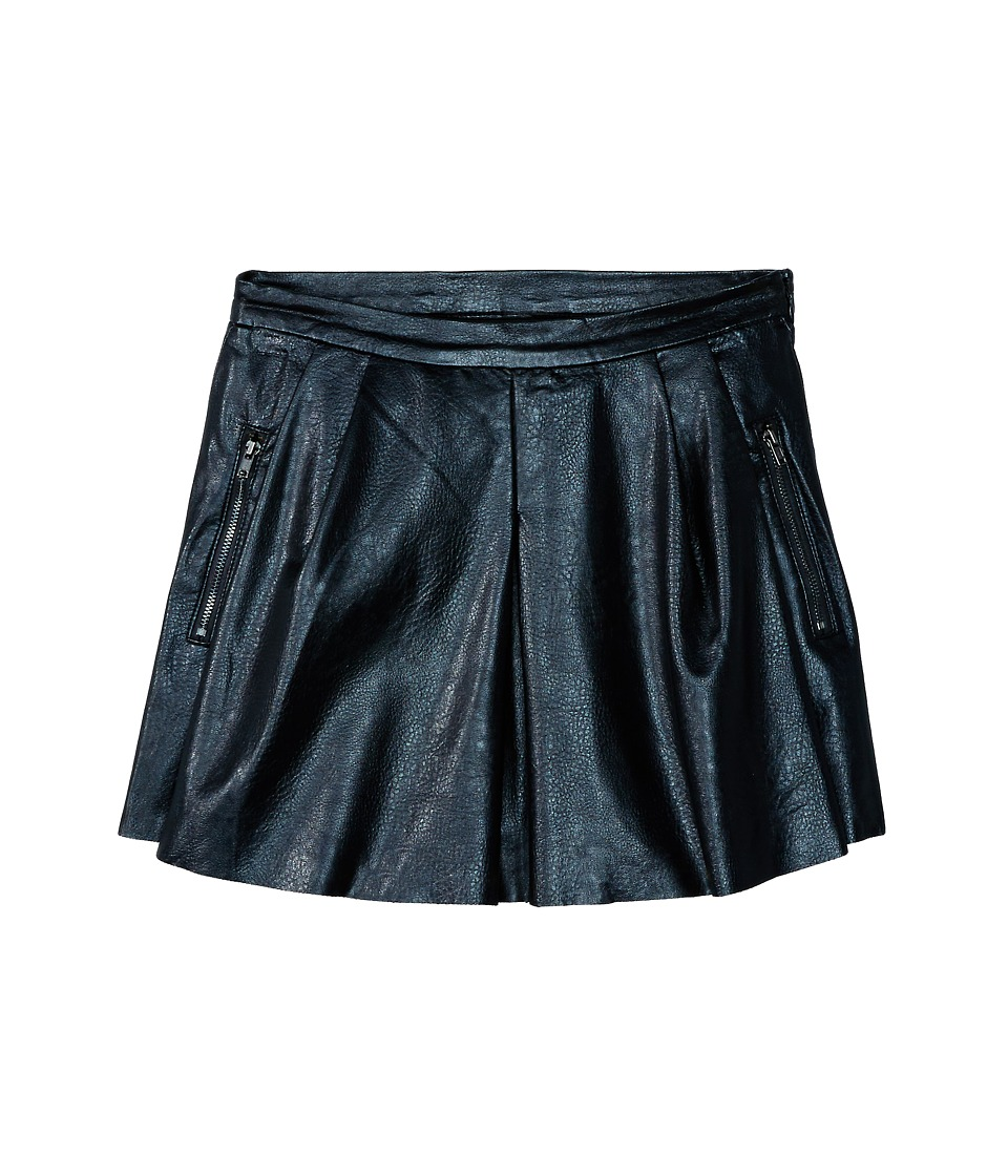 Blank NYC Kids - Vegan Leather Pleated Skirt (Big Kids) (Basic Black) Girl's Skirt