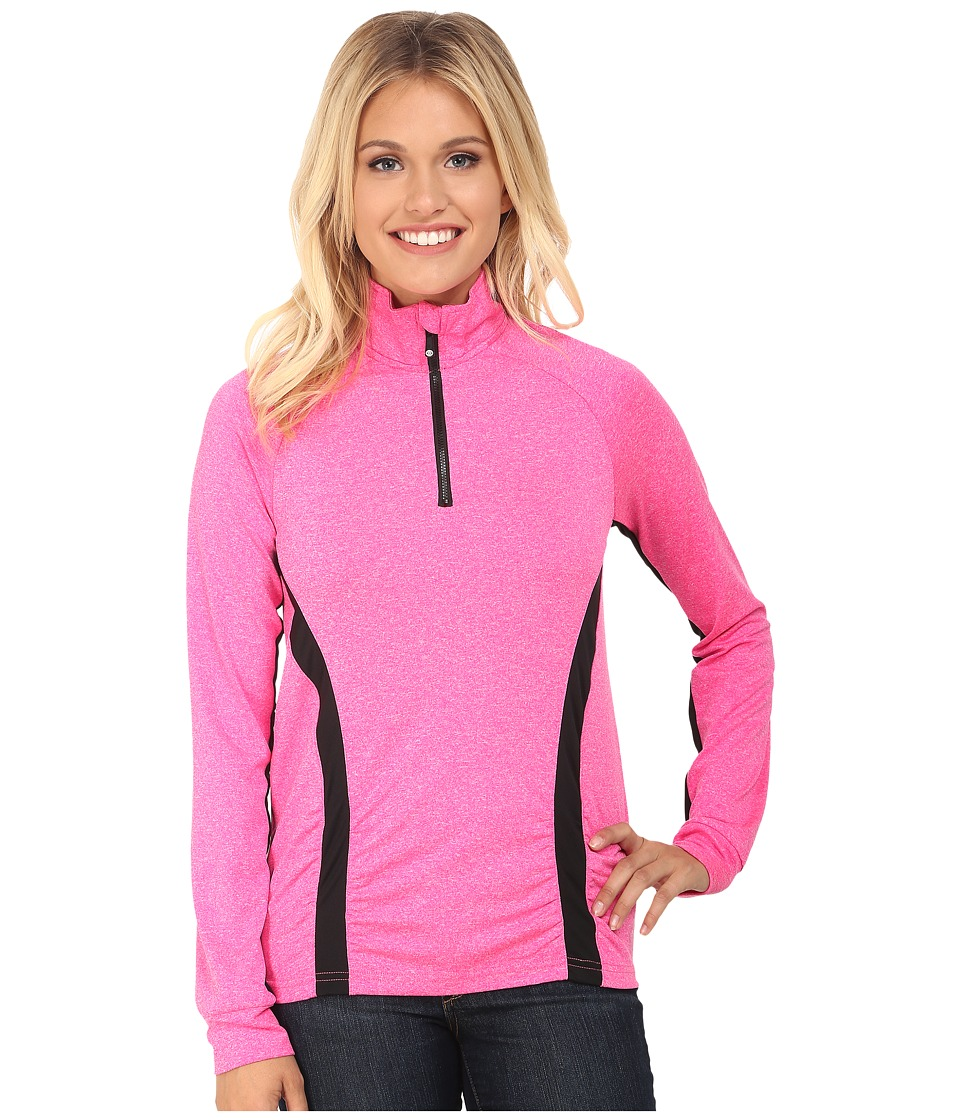 Cruel - Long Sleeve 1/4 Zip Shirred and Texture (Pink) Women's Clothing