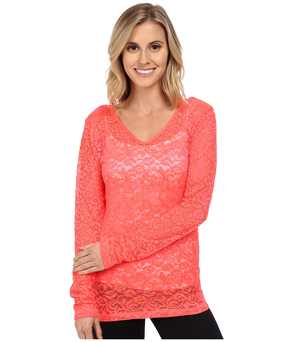 Cruel - Long Sleeve Reversible Stretch Lace (Coral) Women's Blouse