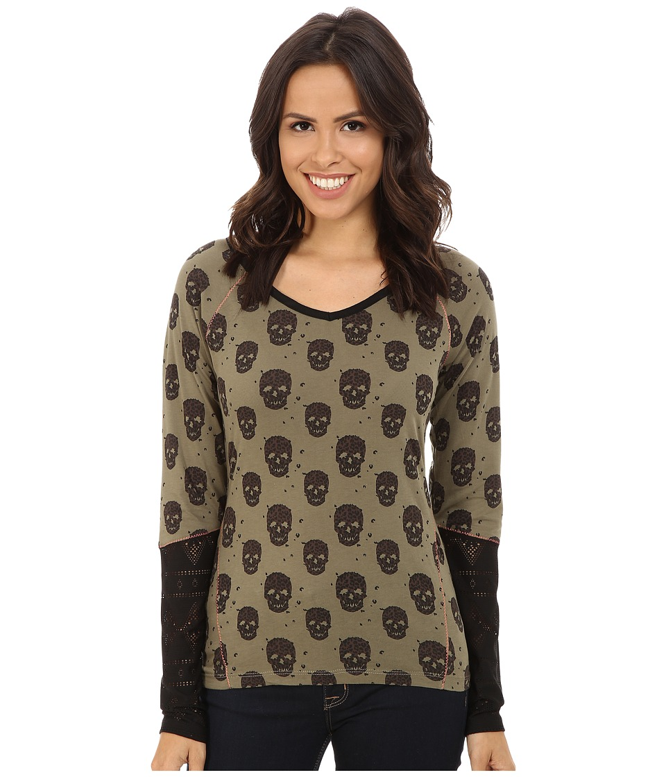 Cruel - Long Sleeve Printed Jersey V-Neck (Olive) Women's T Shirt