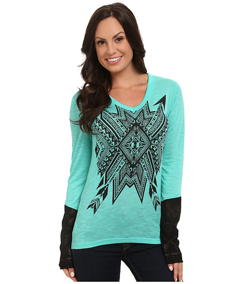 Cruel - Poly Rayon Jersey Long Sleeve V-Neck (Turquoise) Women