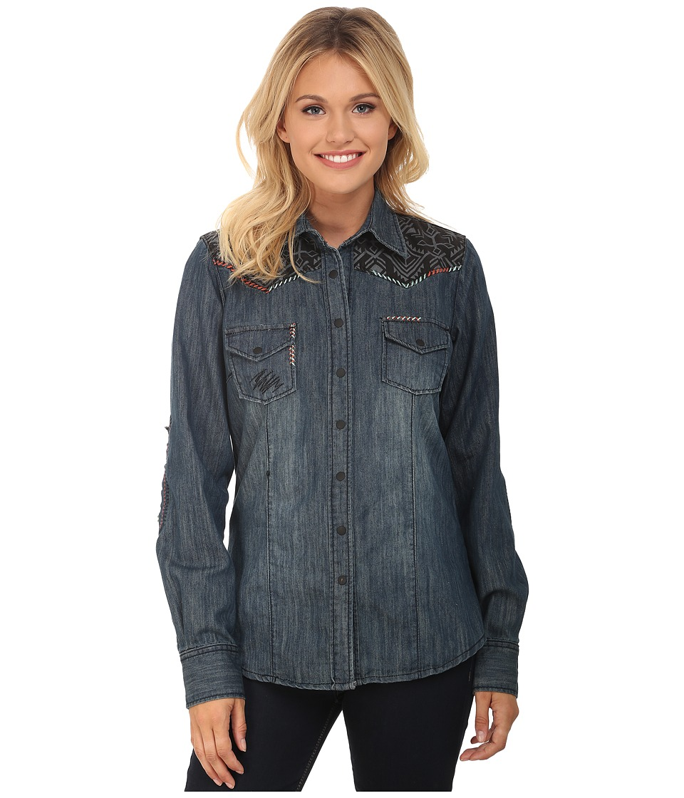 Upc 726126070658 cruel long sleeve arena fit denim for Indigo denim shirt womens
