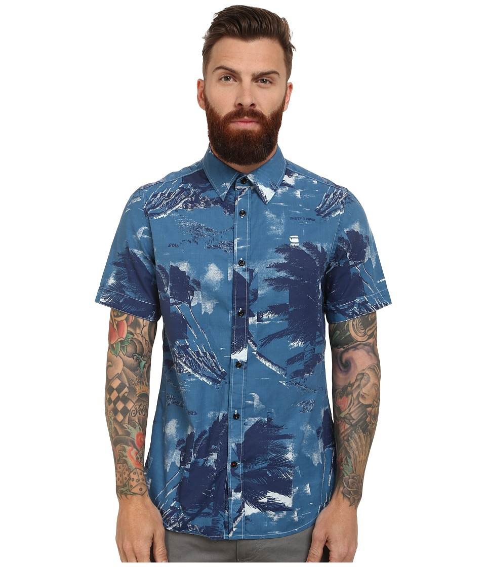 G-Star - Shattor All Over Print Short Sleeve Shirt (Soft Blue) Men's Clothing