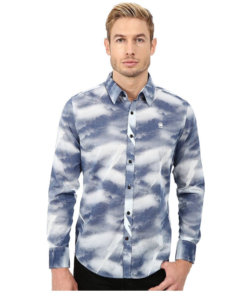 G-Star - Shattor All Over Print Long Sleeve Shirt (Soft Blue) Men's Long Sleeve Button Up