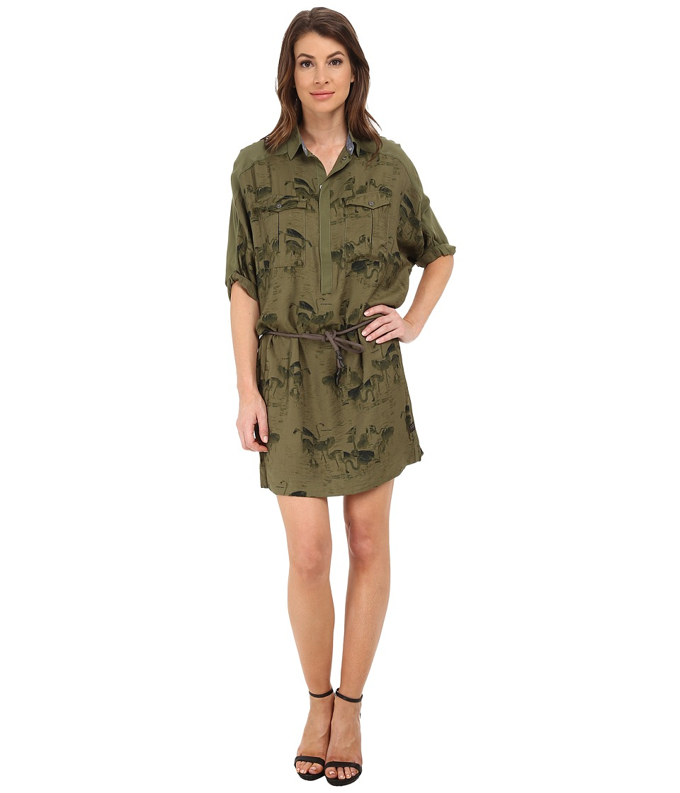 G-Star - Lorin All Over Print Shirtdress (Sage) Women's Dress