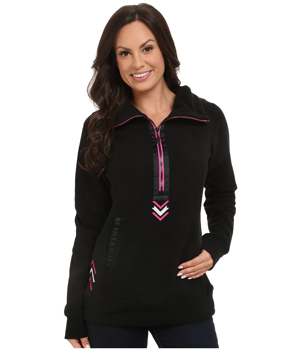 Cruel - Long Sleeve 1/2 Zip Bonded Fleece (Black) Women