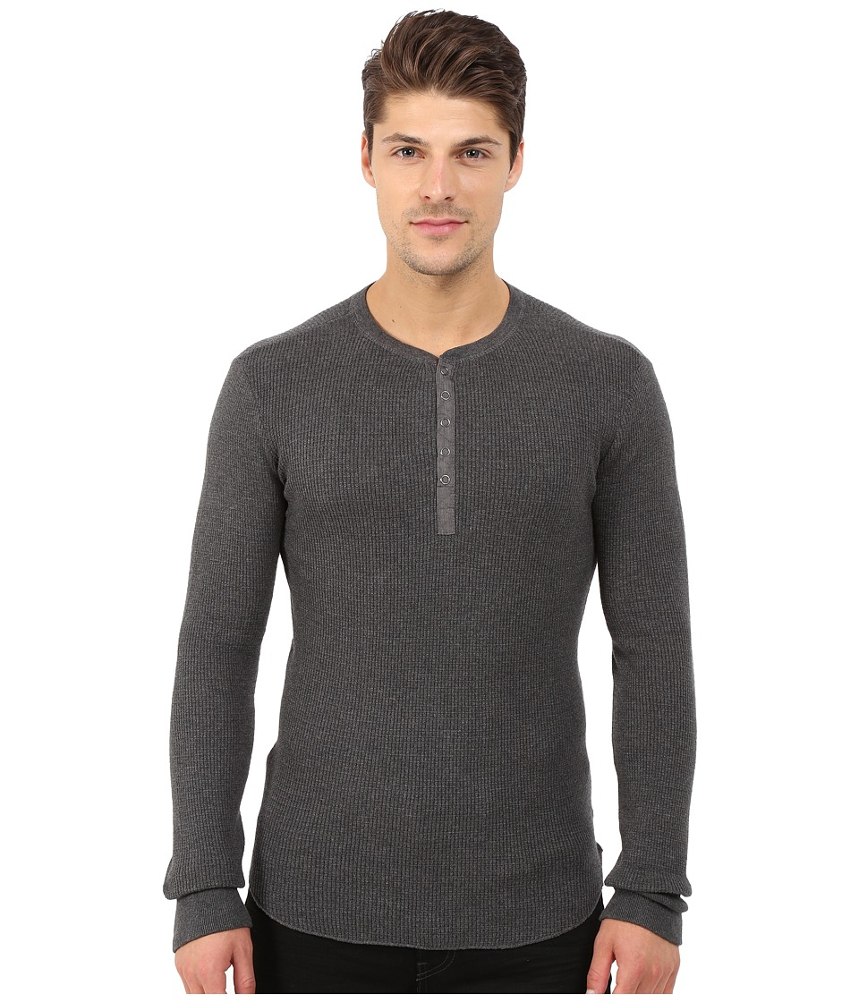 Howe - Tokyo Long Sleeve Knit Henley (Charcoal Grey Heather) Men