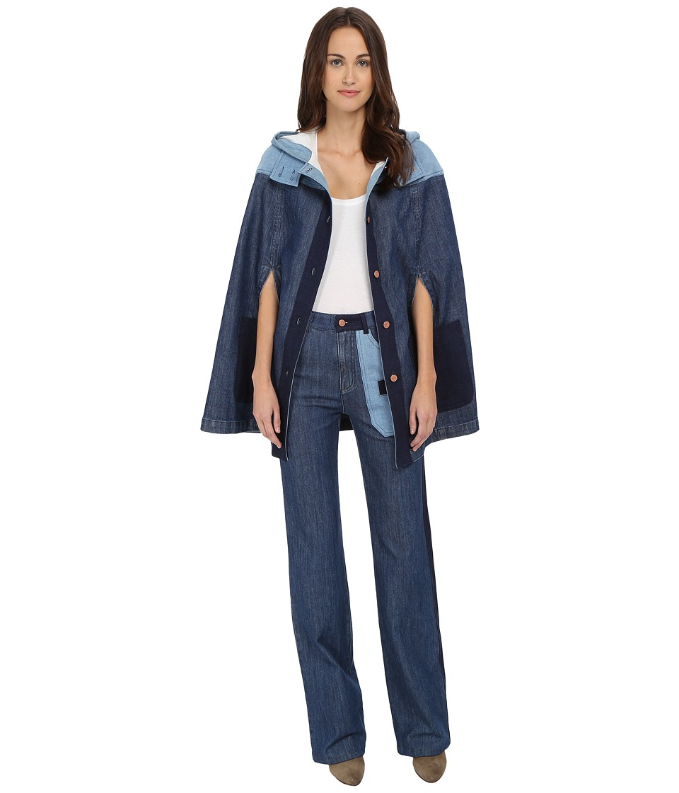 See by Chloe - Denim Patch Cape (Blue) Women's Coat