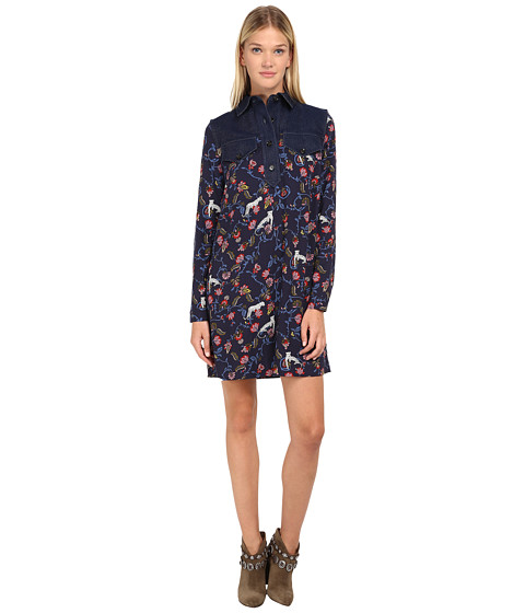 See by Chloe - Denim Collar Dress (Navy) Women's Dress
