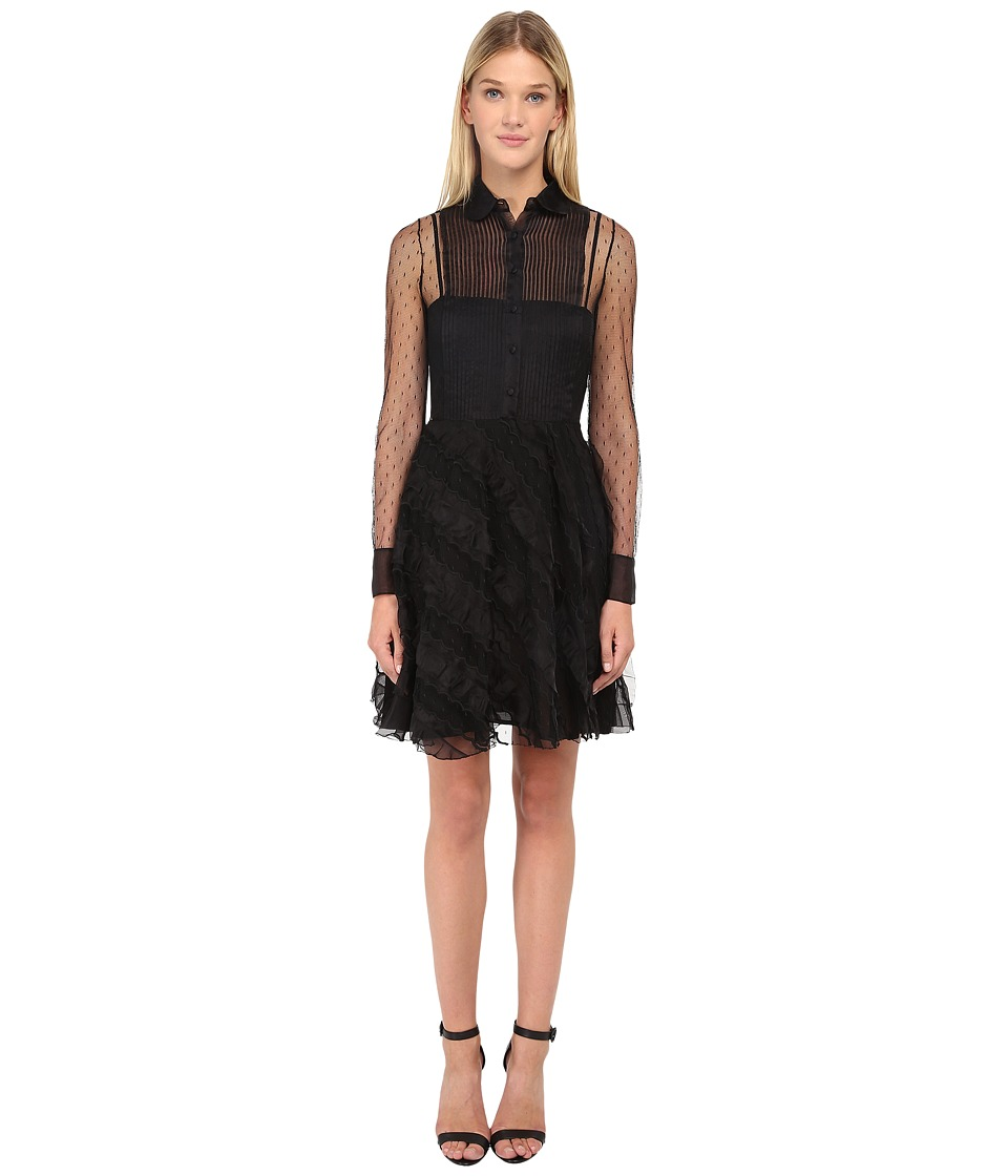 RED VALENTINO - Abito Point D'Esprit + Organza (Nero) Women's Dress